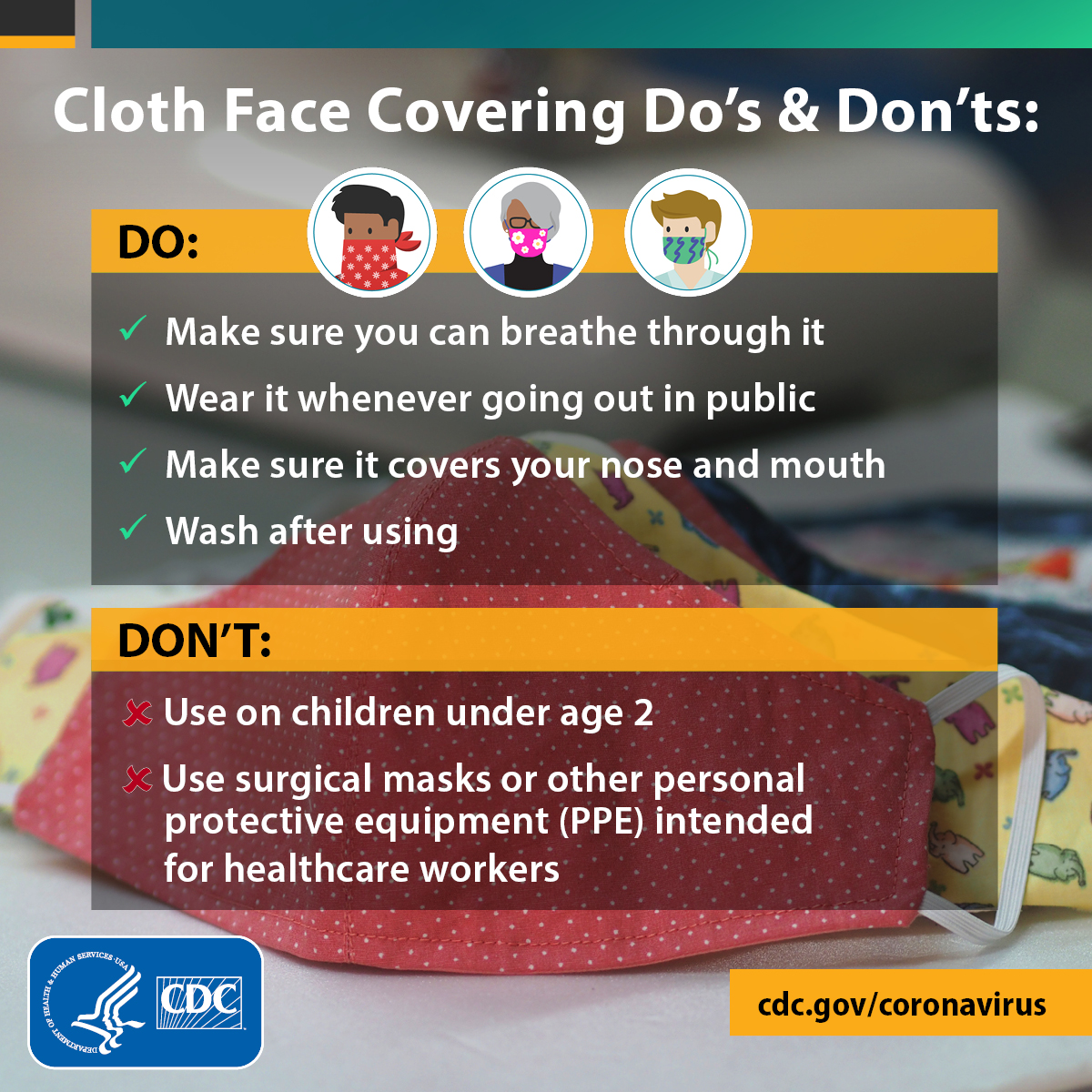 CDC recommends that everyone wear a face mask while out in public