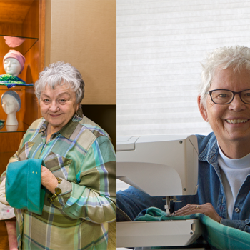 Mary and Maxine each make hats for women who lose their hair to chemotherapy